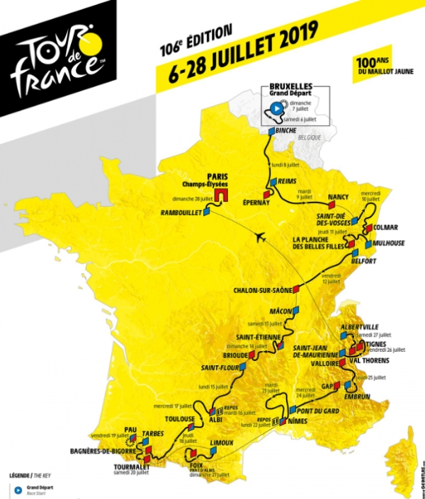 La carte du Tour de France 2019, capture d'écran
